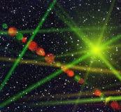 Nocne niebo zakrywający z wiele jaskrawymi gwiazdami neonowymi światłami i ilustracja wektor