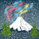 Nocne Niebo, zorza Borealis, Północnych świateł skutek, Realistyczny Co ilustracja wektor