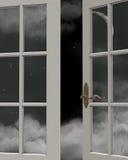 nocnego nieba czas widok okno ilustracja wektor