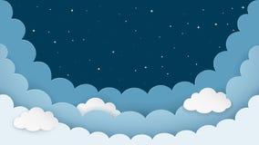 Nocnego nieba tło z chmurami i gwiazdami Ciemny nocy cloudscape tło z przestrzenią Kreskówki sztuki papierowy styl wektor royalty ilustracja
