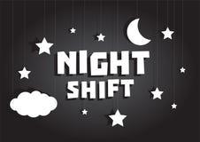 Nocnej zmiany szyldowy obwieszenie z gwiazdami i księżyc niebem Zdjęcia Stock
