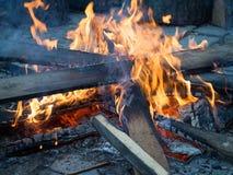 Nocny przy prawie burnt out ogniskiem Fotografia Royalty Free