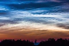 NOCTILUCENT ТЕМНО-СИНИЕ ОБЛАКА БЫСТРОПОДВИЖНЫЕ В ГОРИЗОНТЕ С КРАСИВЫМ НЕБОМ Серебристые облака ночного свечения облаков, редкое н сток-видео