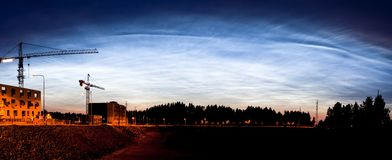 Noctilucent clouds glowing at night sky panorama Royalty Free Stock Photography