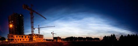 Noctilucent clouds glowing at night sky panorama Royalty Free Stock Photos