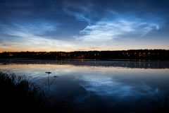 Noctilucent clouds at night sky Royalty Free Stock Images