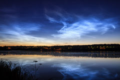 Noctilucent clouds at night sky Royalty Free Stock Photography