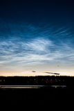 Noctilucent clouds at night sky Royalty Free Stock Photo