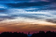 NOCTILUCENT DARK BLUE CLOUDS FAST MOVING IN HORIZON WITH BEAUTIFUL SKY. Silvery clouds Noctilucent Clouds , a rare sky. NOCTILUCENT DARK BLUE CLOUDS FAST MOVING stock video