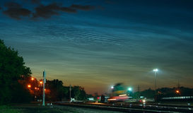 Noctilucent (mesospheric) clouds Royalty Free Stock Images