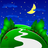 Nocturnal. Night landscape with the campaign, hare and moon smiling Stock Photo