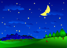 Nocturnal. Night landscape with the campaign, hare and moon smiling Royalty Free Stock Photo