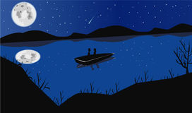 Nocturnal appointment. Romantic date in boat at night under the moon Royalty Free Stock Image