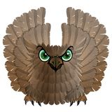 Nocturnal birds of prey. Owl. Vector illustration Stock Photography