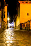 Nocturnal empty street. Long exposure picture of a stone street taken at night Royalty Free Stock Photo
