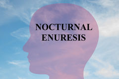 Nocturnal Enuresis concept. Render illustration of NOCTURNAL ENURESIS title on head silhouette, with cloudy sky as a background Stock Photography