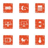 Nocturnal icons set, grunge style. Nocturnal icons set. Grunge set of 9 nocturnal vector icons for web isolated on white background Stock Image