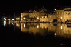 Nocturnal Idyll. Milna on island Brac, Croatia. Is is safest harbour on the island Stock Images