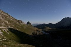 Moonlight landscape at Durmitor Royalty Free Stock Images