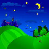 Nocturnal landscape. Vector illustration that depicts a nocturnal landscape with country, countryside and woodland Royalty Free Stock Images