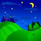 Nocturnal landscape. Vector illustration that depicts a nocturnal landscape with country, countryside and woodland royalty free illustration