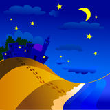 Nocturnal landscape. Vector illustration that depicts a nocturnal landscape with village, sea and beach Stock Photos