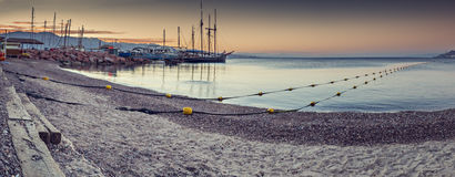 Nocturnal panoramic view on central public beach in Eilat, Israel Stock Photography