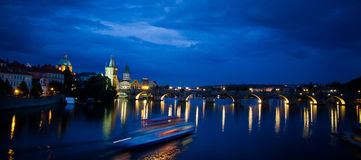 Nocturnal panoramic view of Charles Bridge. Bridge Tower, Charles (Karluv) Bridge, Prague, Czech Republic Stock Images