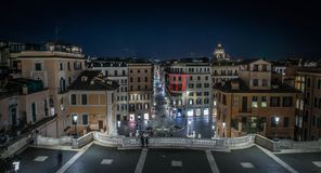 View of the Spanish square in Rome. Nocturnal panoramic view of the Spanish square Piazza di Spagna, one of the major tourist attraction of Rome, Italy Royalty Free Stock Photo