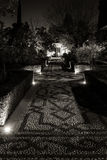 Nocturnal pathway. Pedestrian pathway made with stones following a pattern Stock Image