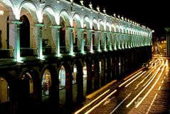 Nocturnal Plaza de Armas – Arequipa Stock Photos