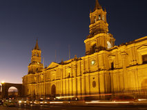 Nocturnal Plaza De Armas. And Cathedral at Arequipa, Peru Stock Images