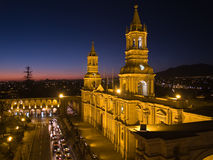 Nocturnal Plaza De Armas. And Cathedral in Arequipa, Peru Royalty Free Stock Photos