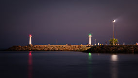 Nocturnal promenade on the Mediterranean coast in Agia Napa Stock Image