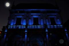 Nocturnal renaissance architecture in blue light. Piazza Loggia. Brescia, Italy. Stock Photos