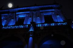 Nocturnal renaissance architecture in blue light. Piazza Loggia. Brescia, Italy. Royalty Free Stock Photography