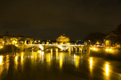 Nocturnal urban landscape. Tiber River Royalty Free Stock Image