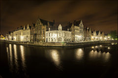 Nocturnal view of a canal in Bruges Royalty Free Stock Photography