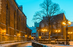 Nocturnal view on the center of old Riga city, Latvia Stock Photography