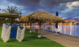 Nocturnal view on the central beach of Eilat Royalty Free Stock Images