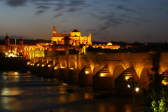 Nocturnal view of Cordoba & river Guadalquivir, Spain. Nocturnal view of Cordoba from the river Guadalquivir. Are visible the Catedral and the roman bridge stock photo