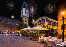 Nocturnal view on Dome square in old Riga city, Latvia Stock Image
