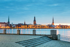 Nocturnal view on medieval city of Riga Royalty Free Stock Image