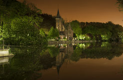 Nocturnal view of Minnewaterpark in Bruges, Belgium Stock Images