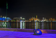 Nocturnal view on the northern beach of Eilat Royalty Free Stock Photo