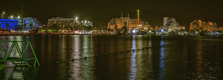 Nocturnal view on the northern beach of Eilat Royalty Free Stock Photography