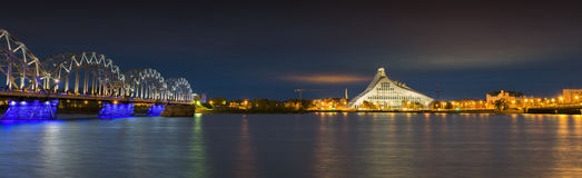 Nocturnal view on Riga city, Latvia, Europe Royalty Free Stock Photo