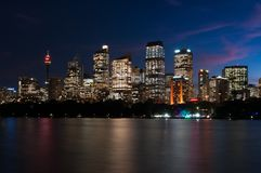 A nocturnal view of Sidney skyline. With its beautiful vivid skyscrapers Royalty Free Stock Image