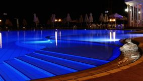 Nocturnal water pool. Beautiful water pool in Maleme Hotel, Chania, Crete, Greece Stock Image