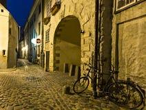 Nocturnal widok na Stary Ryskim, Latvia, Europa Zdjęcie Royalty Free